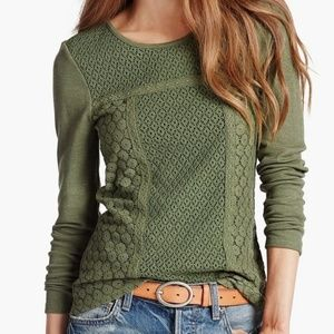 Lucky Brand Lace Patched Thermal, olive, Medium